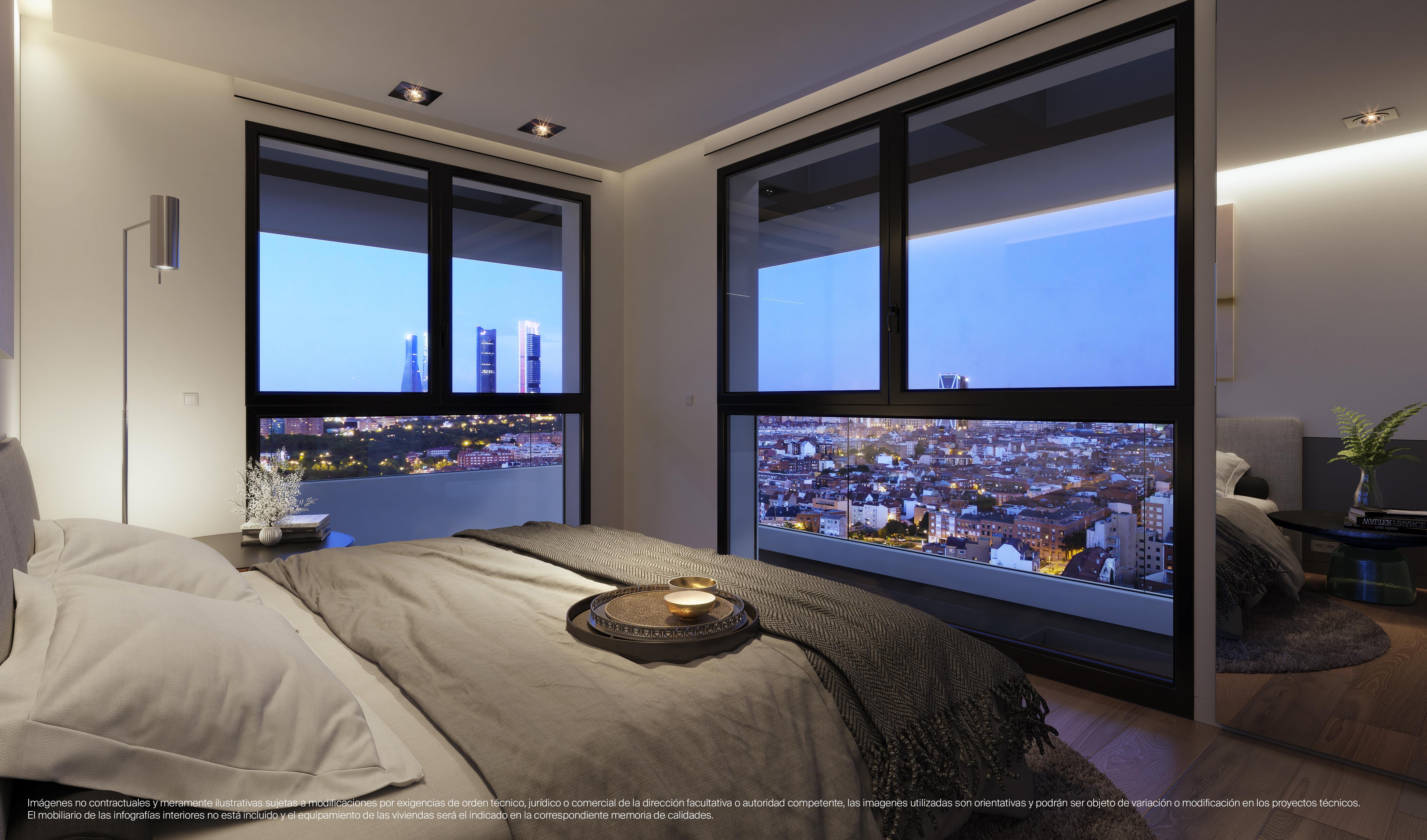Uno de los dormitorios con vistas a Madrid