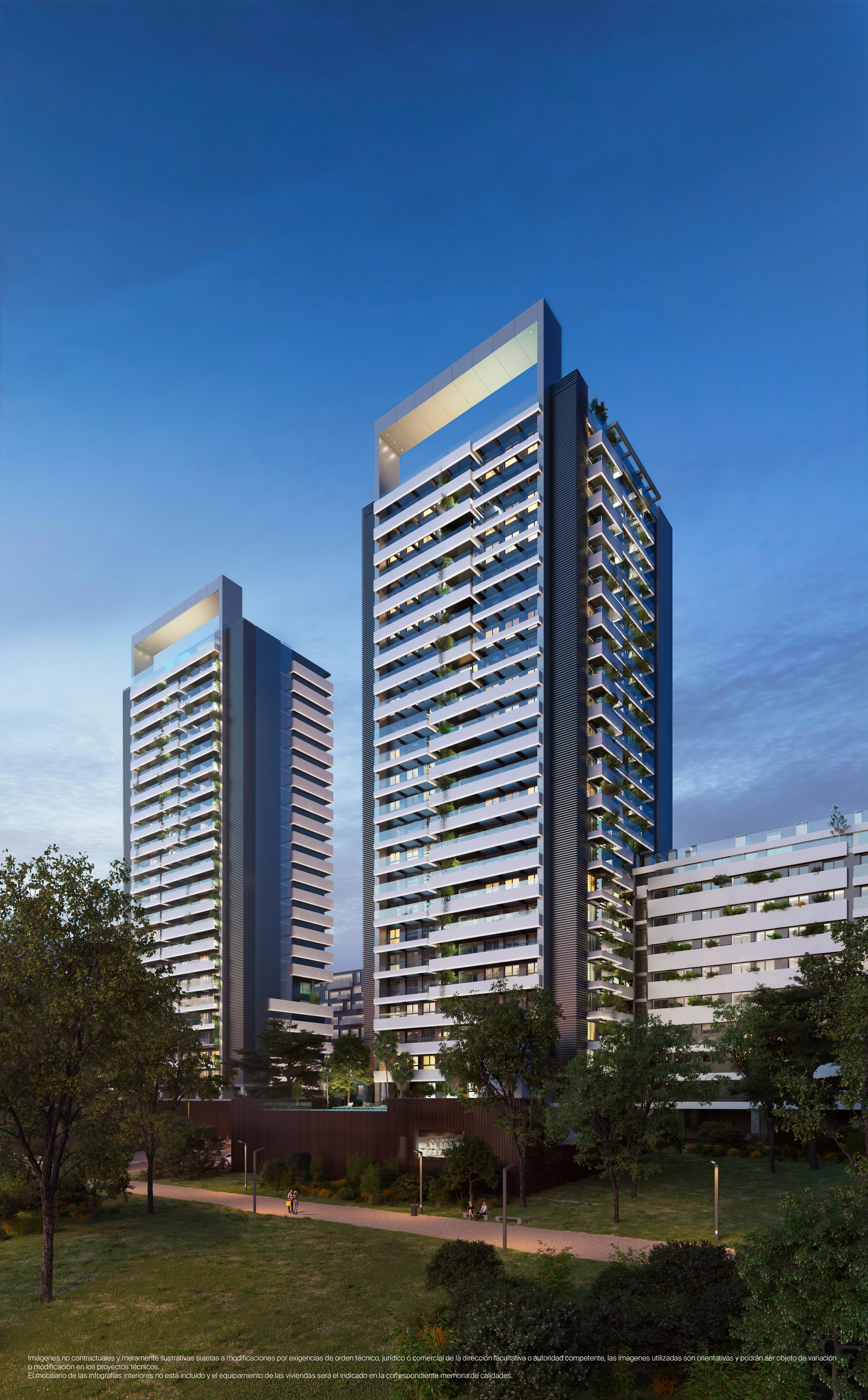 Panorámica de las dos torres del residencial