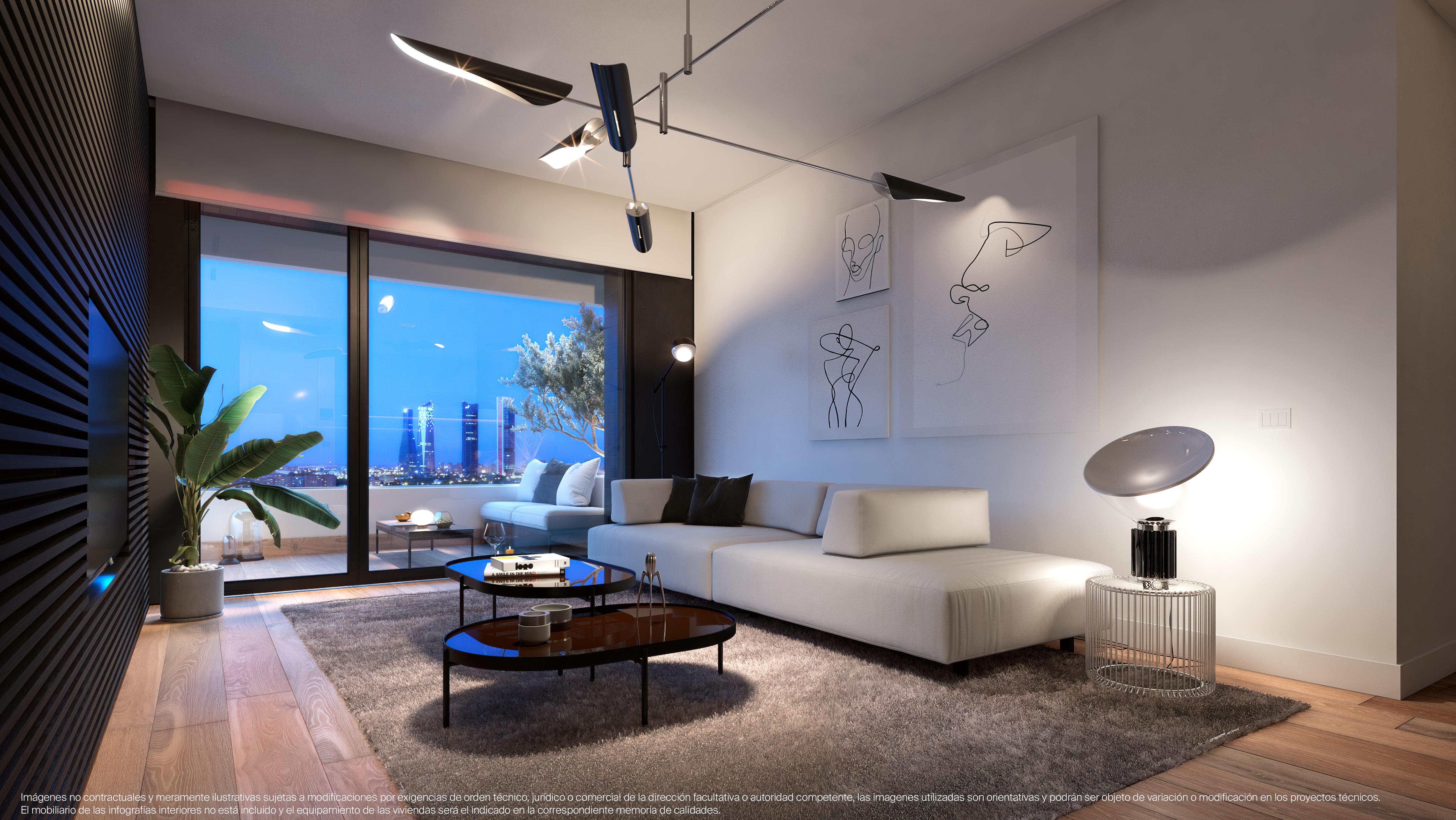 El salón de uno de los pisos