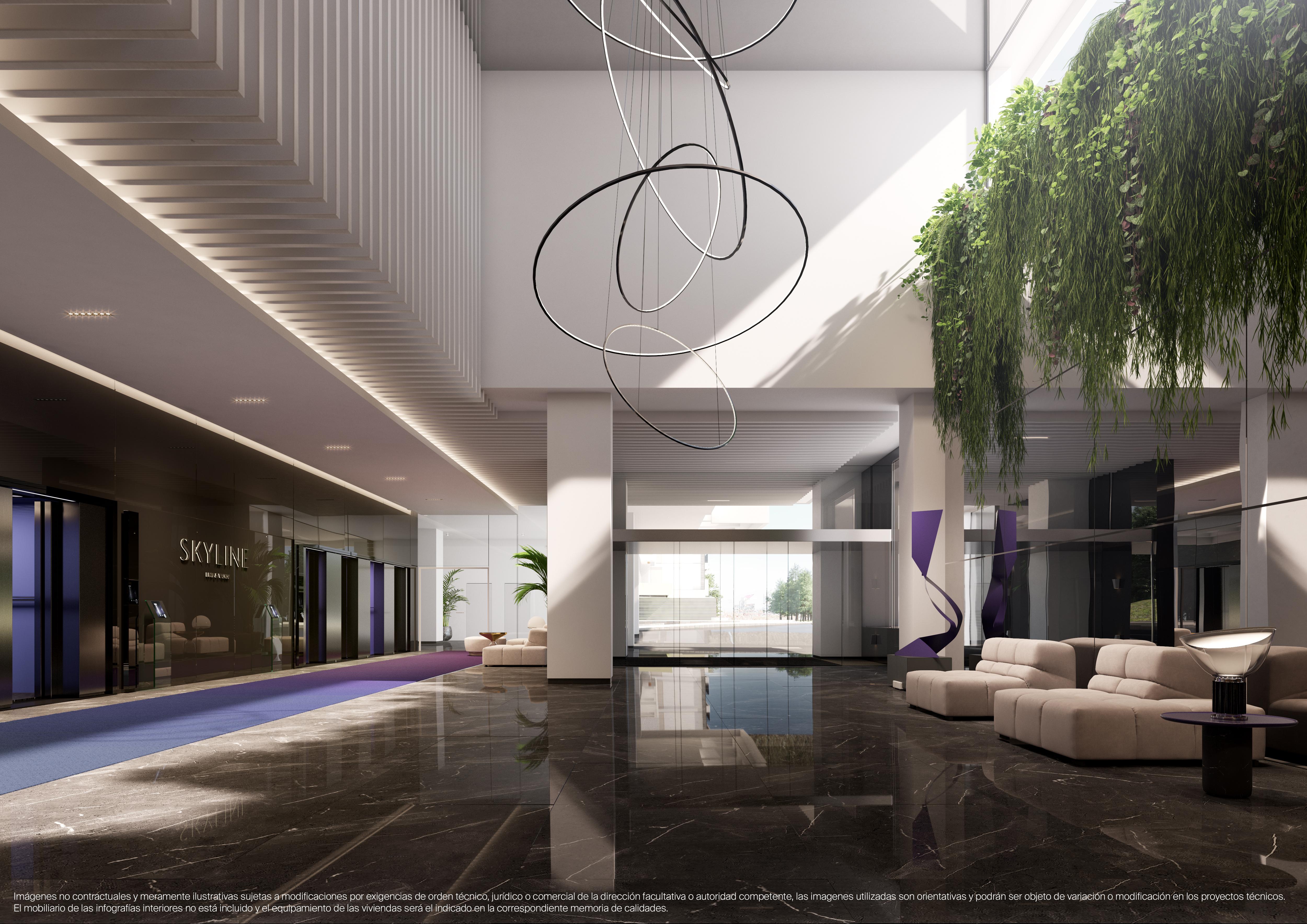 El lobby de Skyline Residencial