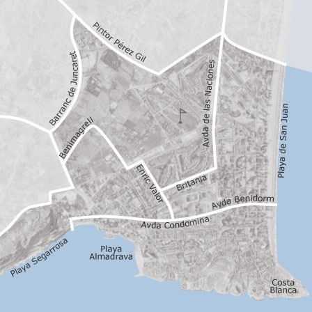 San Juan Alicante Mapa.Map Of Playa De San Juan El Cabo Alicante Alacant Homes
