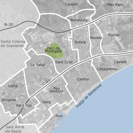 Map of Badalona Barcelona municipalities with listings of homes