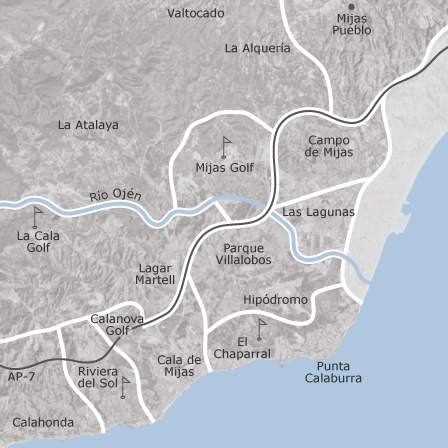 Map of Mijas Mlaga municipalities with listings of homes for rent
