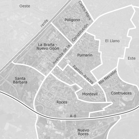 Mapa de sur gij n viviendas en alquiler idealista for Pisos compartidos gijon
