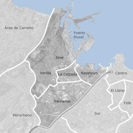 Mapa de oeste gij n locales o naves en venta idealista for Pisos compartidos gijon